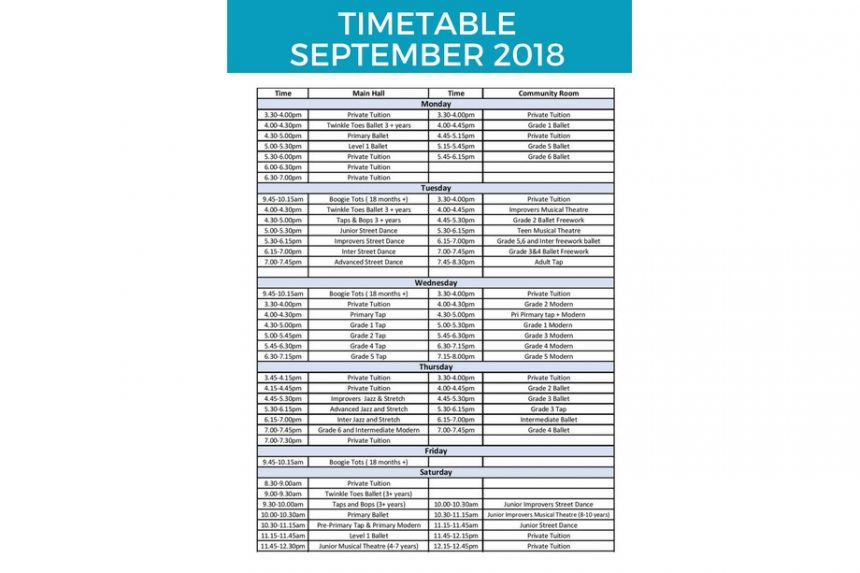 September Timetable and Key dates!!